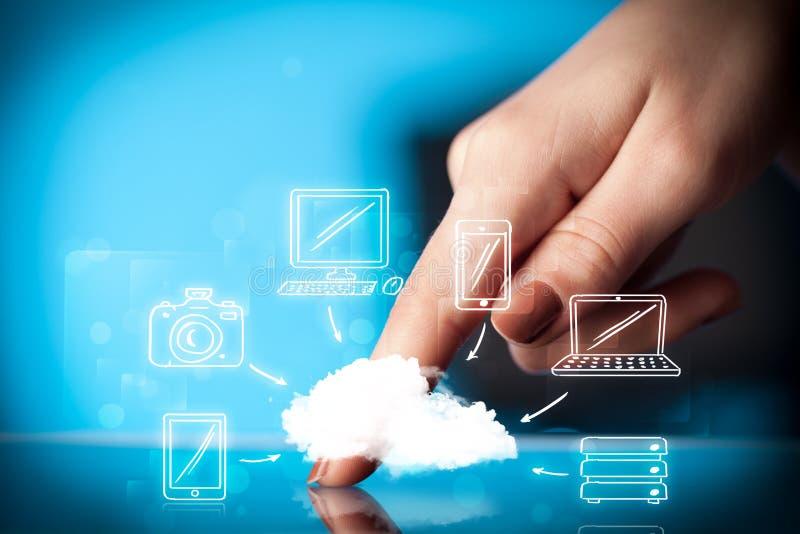 Δάχτυλο που δείχνει στο PC ταμπλετών, κινητή έννοια σύννεφων στοκ εικόνες με δικαίωμα ελεύθερης χρήσης