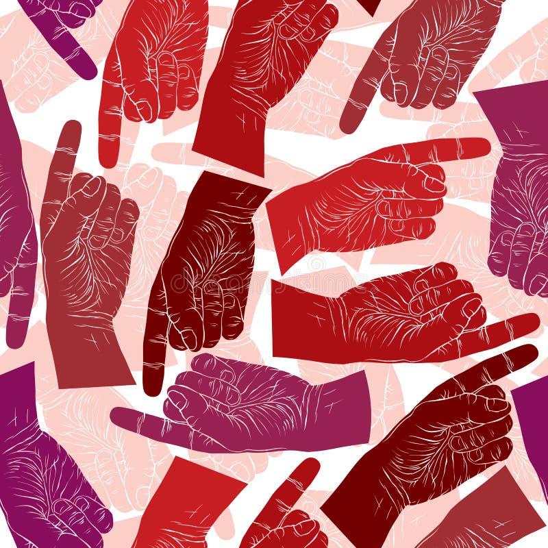 Δάχτυλο που δείχνει το άνευ ραφής σχέδιο χεριών, διανυσματικό υπόβαθρο για το wa ελεύθερη απεικόνιση δικαιώματος