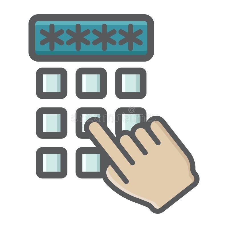 Δάχτυλο χεριών που εισάγει το ζωηρόχρωμο εικονίδιο κώδικα ασφαλείας διανυσματική απεικόνιση