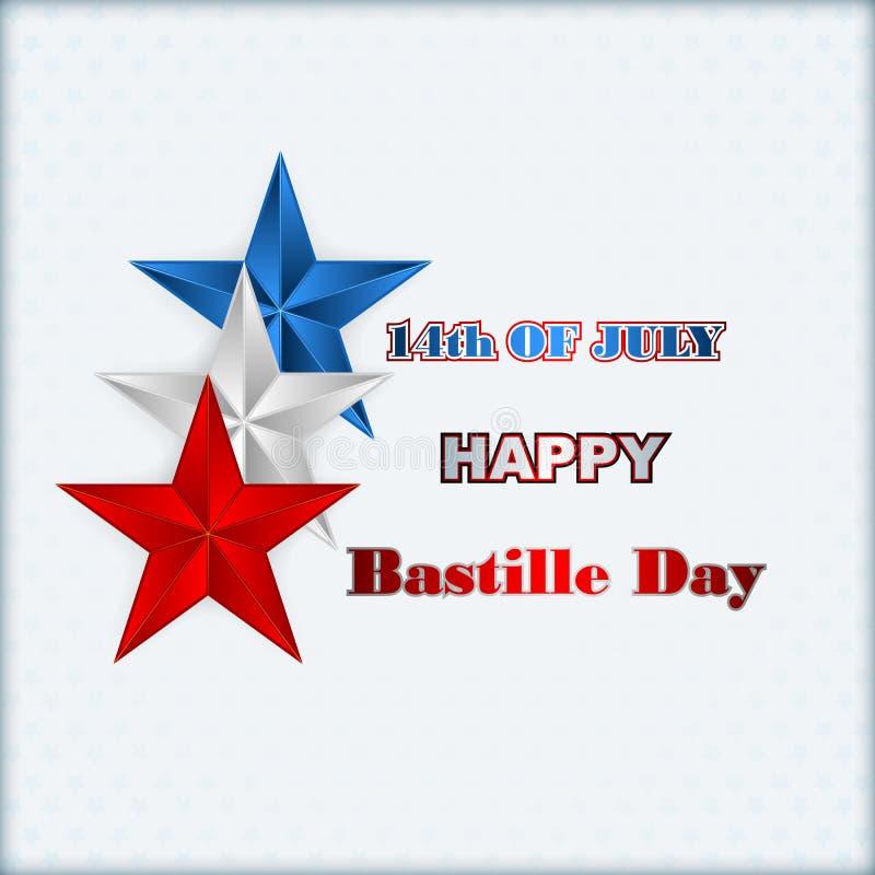 Δέκατος τέταρτος ημέρα Ιουλίου Bastille του υποβάθρου της Γαλλίας με τα μπλε, άσπρα και κόκκινα αστέρια διανυσματική απεικόνιση