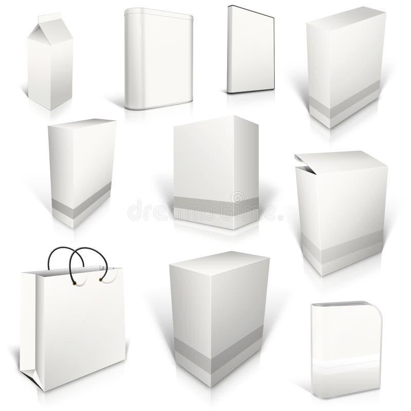 Δέκα άσπρα κενά κιβώτια στο λευκό διανυσματική απεικόνιση