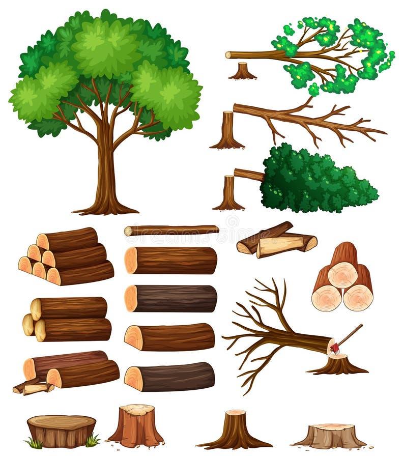 Δέντρα δέντρων και κολοβωμάτων διανυσματική απεικόνιση