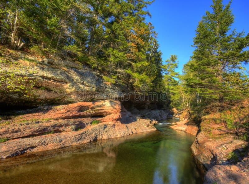 Δέντρα αντανάκλασης σχηματισμών βράχου ρευμάτων HDR στοκ φωτογραφία με δικαίωμα ελεύθερης χρήσης
