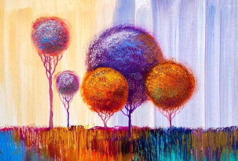 Δέντρα, ελαιογραφία, καλλιτεχνικό υπόβαθρο ελεύθερη απεικόνιση δικαιώματος