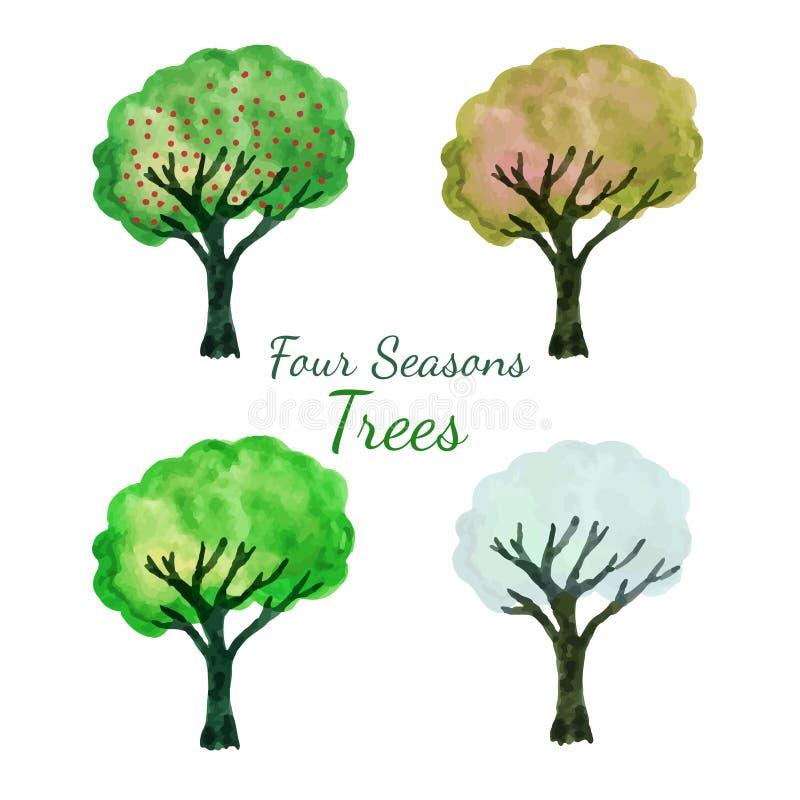 Δέντρα εποχής καθορισμένα Απομονωμένο Watercolor διανυσματικό σύνολο δέντρων Απεικόνιση χρωμάτων χεριών διανυσματική απεικόνιση