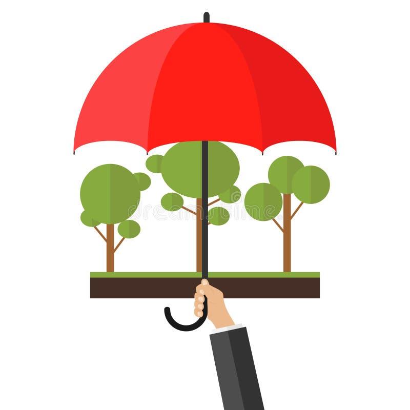 Δέντρα κάτω από την προστασία Ένα χέρι με μια ομπρέλα προστατεύει το δάσος απεικόνιση αποθεμάτων