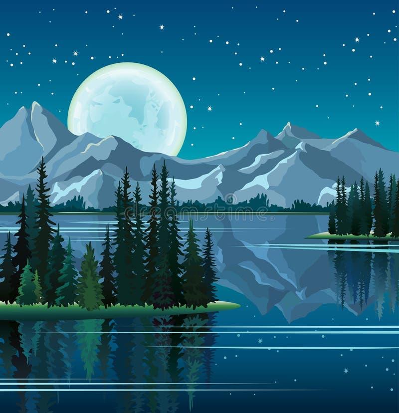 Δέντρα και πανσέληνος πεύκων που απεικονίζονται στο νερό με τα βουνά απεικόνιση αποθεμάτων