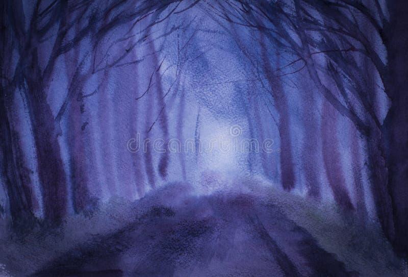 Δέντρα και δρόμος λυκόφατος ελεύθερη απεικόνιση δικαιώματος
