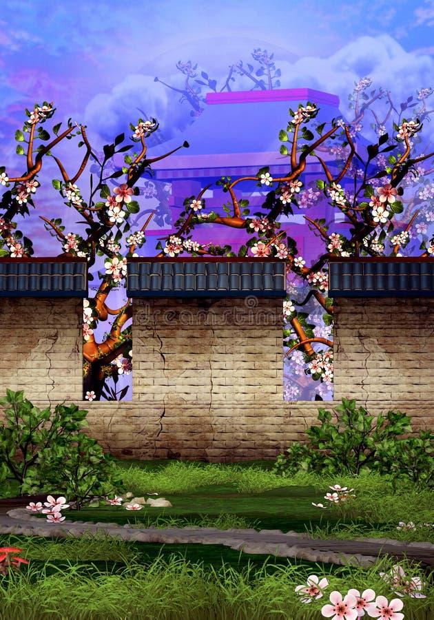 Δέντρα κερασιών, ναός, τουβλότοιχος και ήρεμος κήπος απεικόνιση αποθεμάτων
