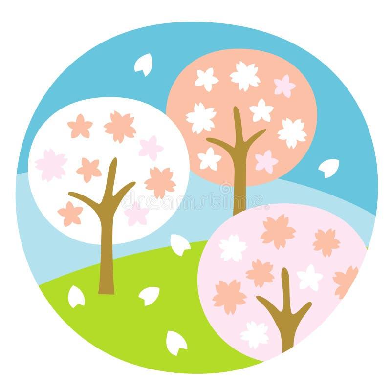Δέντρα κερασιών, πλήρης άνθιση, τον Απρίλιο απεικόνιση αποθεμάτων