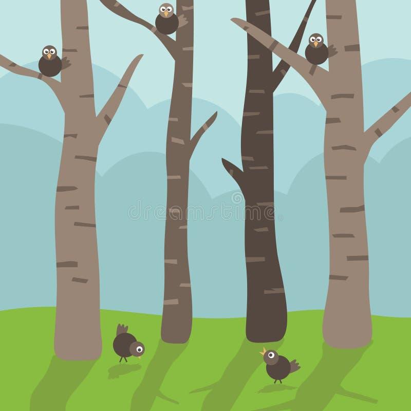 δέντρα πουλιών απεικόνιση αποθεμάτων