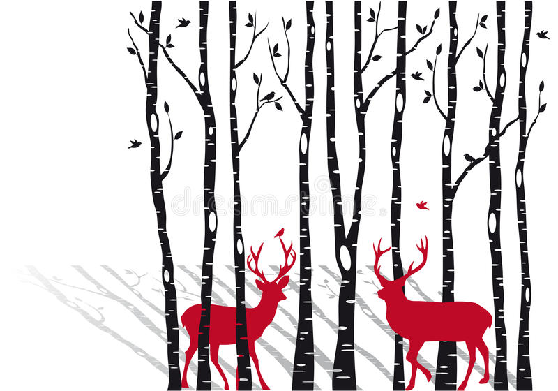 Δέντρα σημύδων με τα deers Χριστουγέννων, διάνυσμα απεικόνιση αποθεμάτων