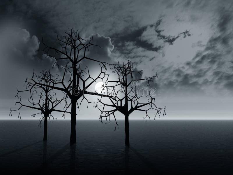 δέντρα τοπίων διανυσματική απεικόνιση