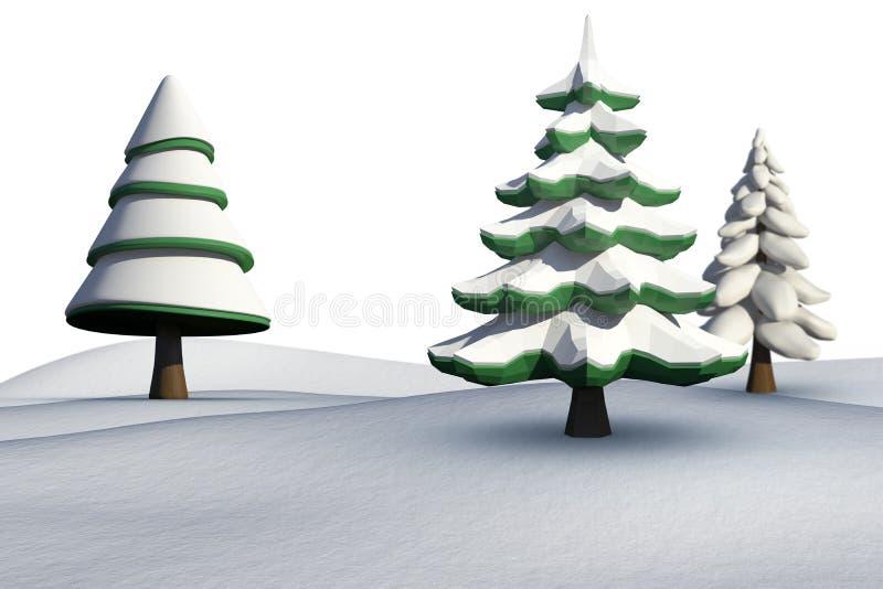 Δέντρα του FIR στο χιονώδες τοπίο απεικόνιση αποθεμάτων