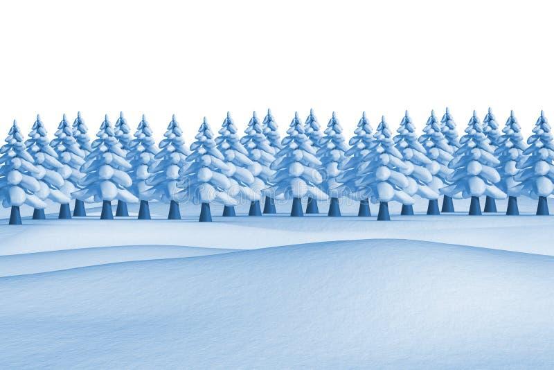Δέντρα του FIR στο χιονώδες τοπίο διανυσματική απεικόνιση