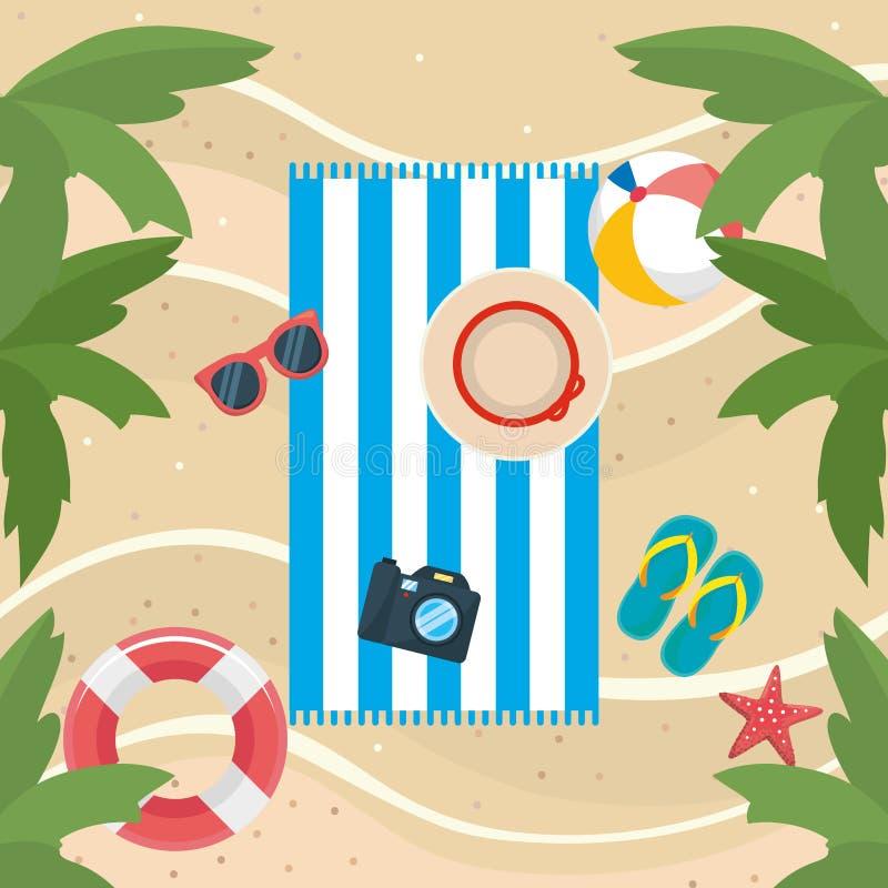 Δέντρα φοινικών με τα γυαλιά ηλίου και τις σαγιονάρες με τη σφαίρα και επιπλέον σώμα στην παραλία διανυσματική απεικόνιση