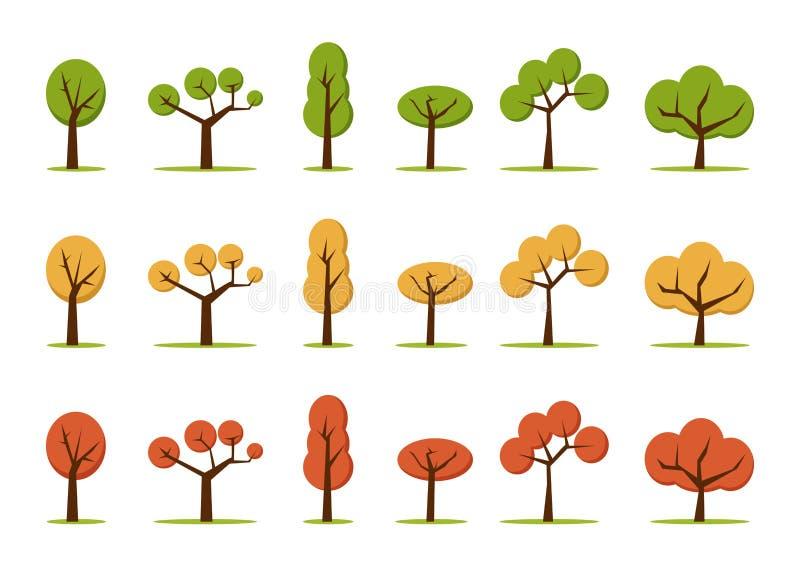 Δέντρα χρώματος καθορισμένα ελεύθερη απεικόνιση δικαιώματος