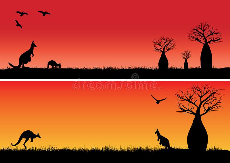Δέντρα Boab και δύο καγκουρό ελεύθερη απεικόνιση δικαιώματος
