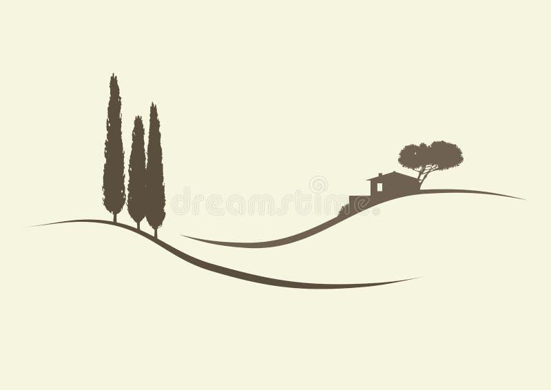 Δέντρα Finca και κυπαρισσιών ελεύθερη απεικόνιση δικαιώματος