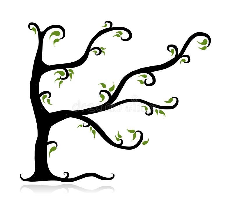 Δέντρο άνοιξη πράσινο για το σχέδιό σας διανυσματική απεικόνιση