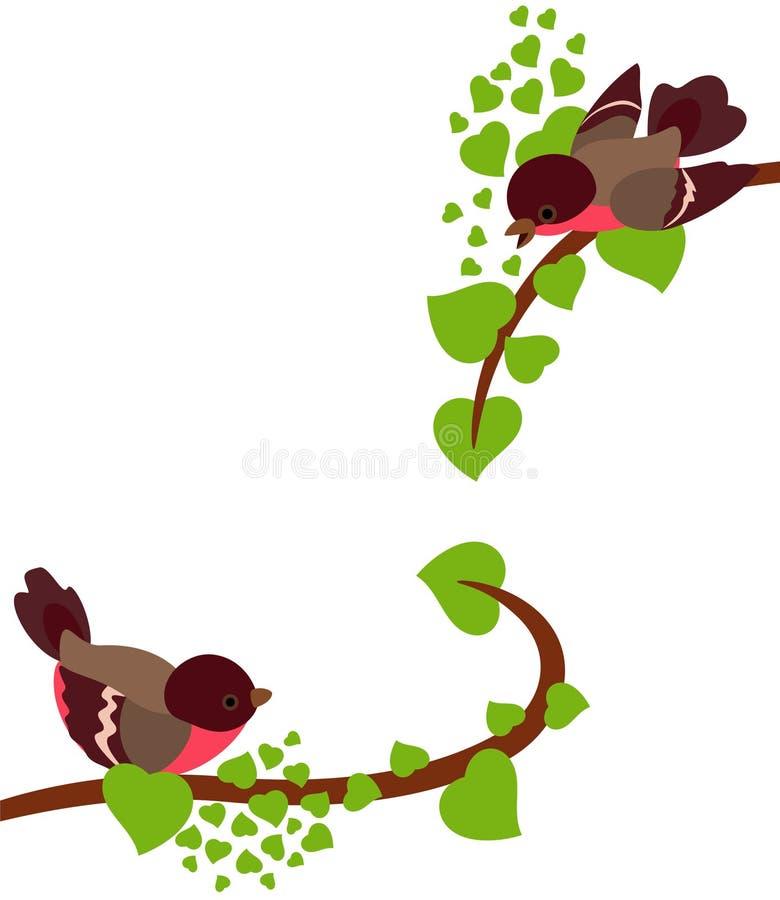 δέντρο άνοιξη του Robin κλάδων &pi διανυσματική απεικόνιση