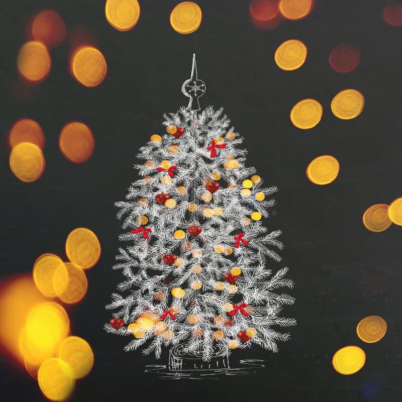 Δέντρο έλατου Χριστουγέννων σχεδίων χεριών στον πίνακα στοκ εικόνες
