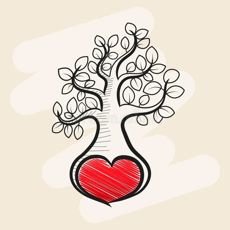 Δέντρο αγάπης με τα φύλλα καρδιών διανυσματική απεικόνιση