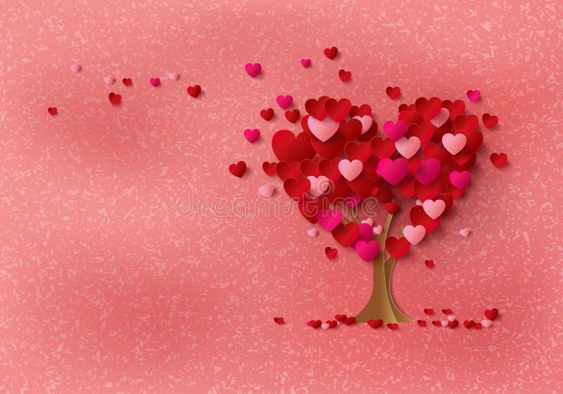 Δέντρο αγάπης με τα φύλλα καρδιών ελεύθερη απεικόνιση δικαιώματος
