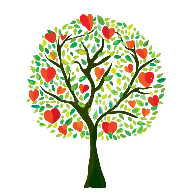 Δέντρο αγάπης με τις καρδιές, κάρτα βαλεντίνων διανυσματική απεικόνιση