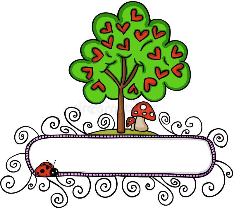 Δέντρο αγάπης με τις καρδιές και ένα έμβλημα ελεύθερη απεικόνιση δικαιώματος