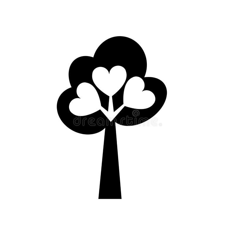 Δέντρο αγάπης σημαδιού και του συμβόλου εικονιδίων του διανυσματικού που απομονώνονται στο άσπρο υπόβαθρο, δέντρο της έννοιας λογ διανυσματική απεικόνιση