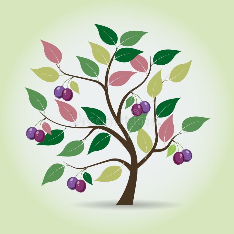 Δέντρο δαμάσκηνων φθινοπώρου στο ύφος φαντασίας ελεύθερη απεικόνιση δικαιώματος