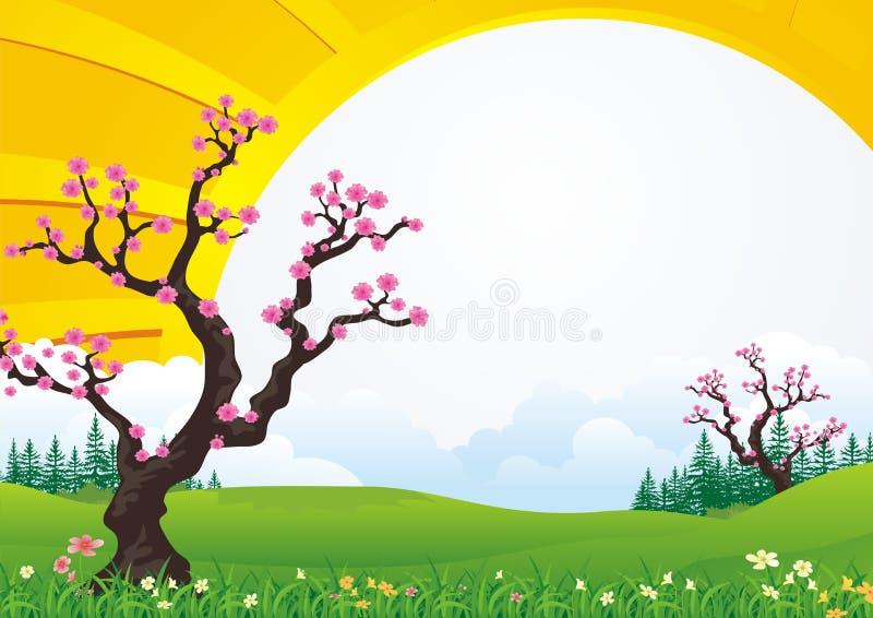 Δέντρο ανθών δαμάσκηνων Με το όμορφο τοπίο διανυσματική απεικόνιση