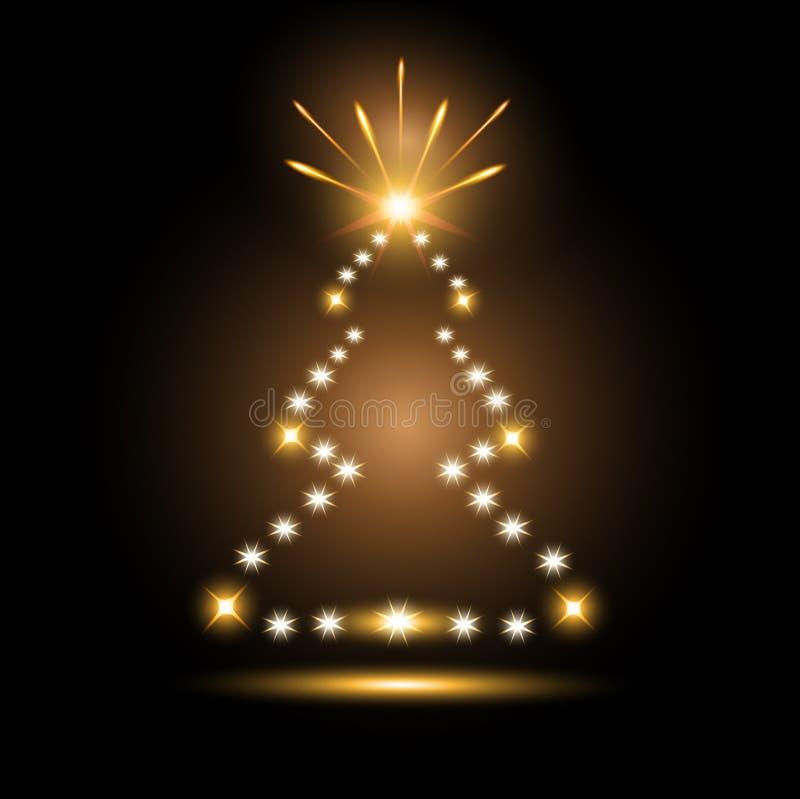 δέντρο αστεριών πυροτεχνημάτων Χριστουγέννων διανυσματική απεικόνιση