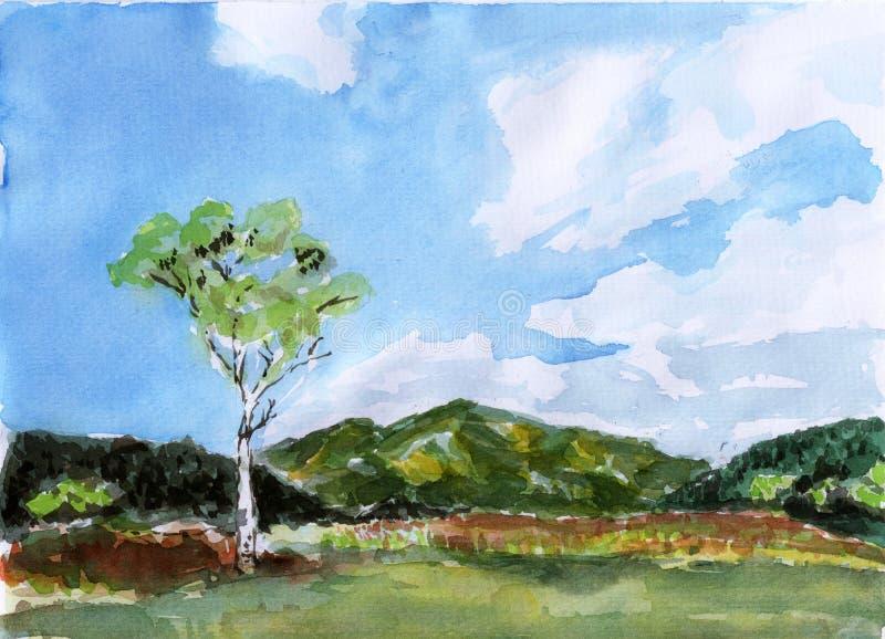 Δέντρο βουνών Watercolor διανυσματική απεικόνιση