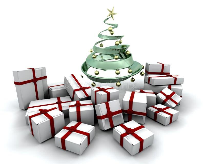 δέντρο δώρων Χριστουγέννων κάτω διανυσματική απεικόνιση