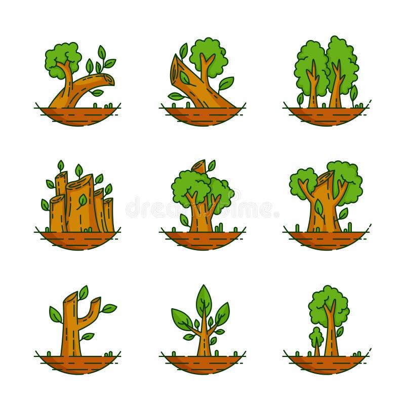 Δέντρο, εγκαταστάσεις, δάσος, φύση, βοτανική απεικόνιση, συλλογή δέντρων ελεύθερη απεικόνιση δικαιώματος