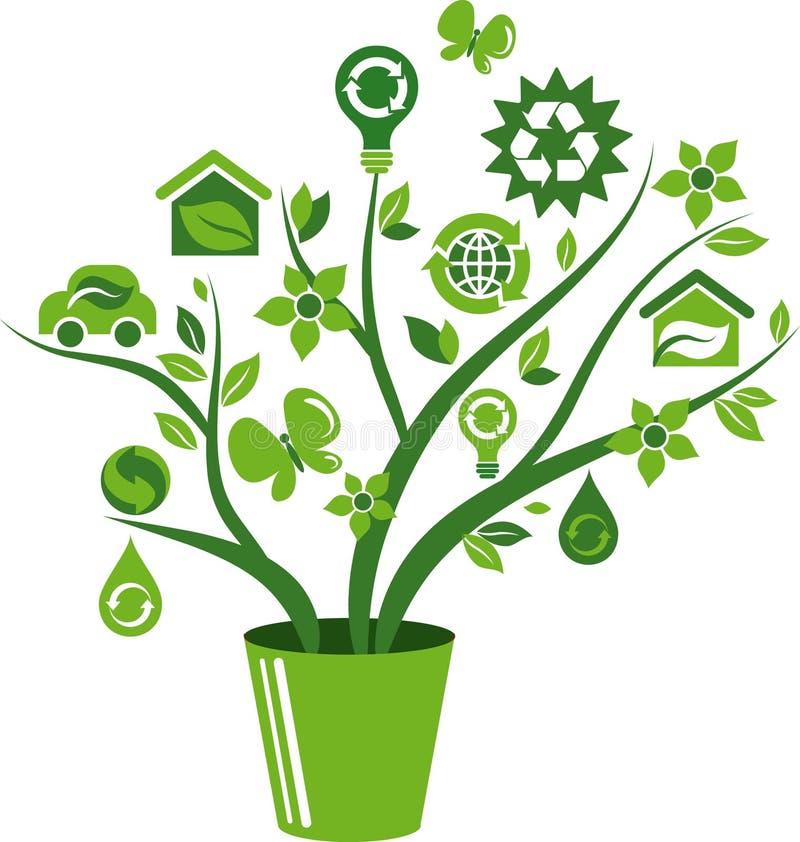 Δέντρο εικονιδίων ενεργειακής έννοιας Eco - 1 ελεύθερη απεικόνιση δικαιώματος