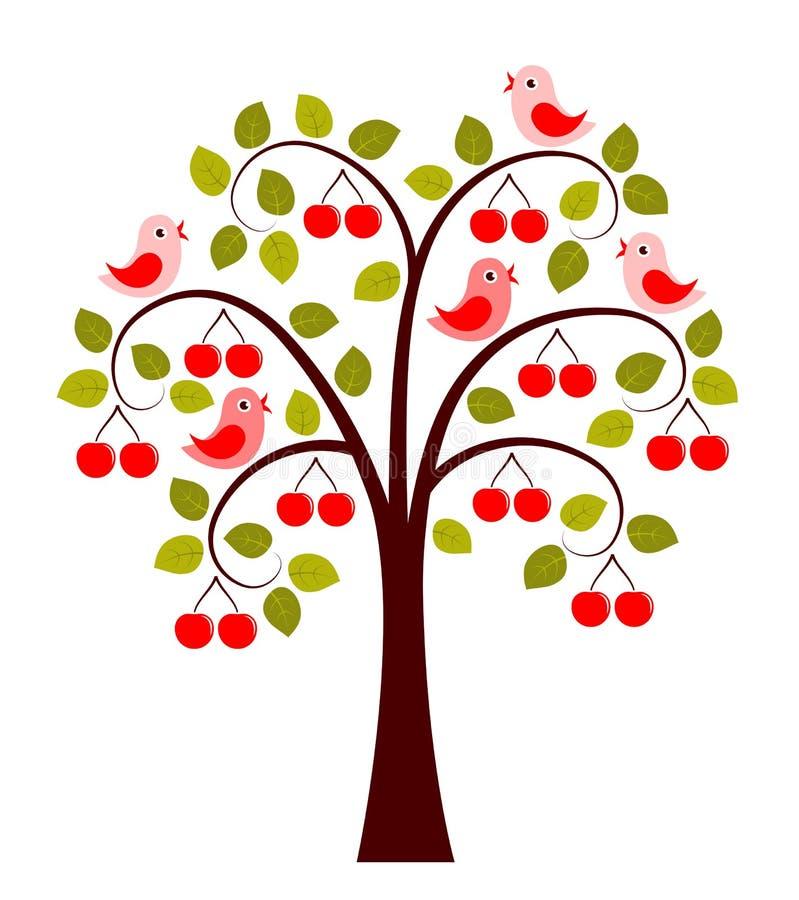 Δέντρο και πουλιά κερασιών ελεύθερη απεικόνιση δικαιώματος