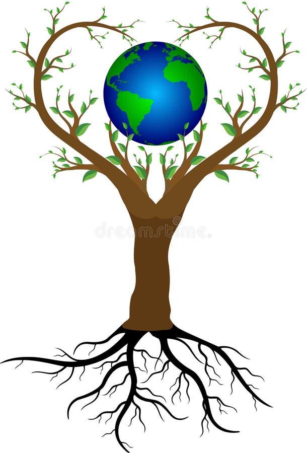 Δέντρο και πλανήτης Γη αγάπης διανυσματική απεικόνιση