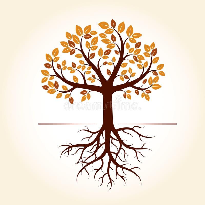 Δέντρο και ρίζες φθινοπώρου επίσης corel σύρετε το διάνυσμα απεικόνισης διανυσματική απεικόνιση