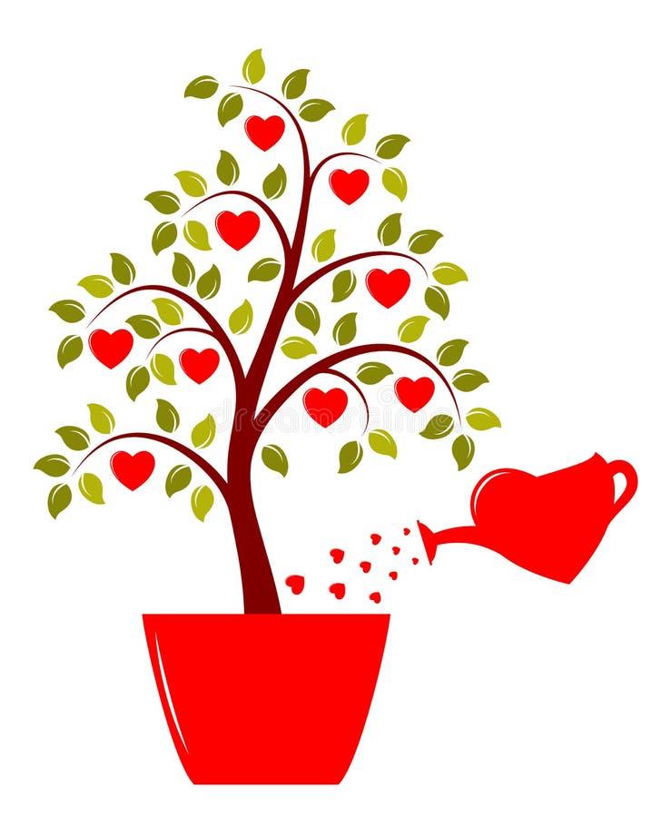 Δέντρο καρδιών στο δοχείο ελεύθερη απεικόνιση δικαιώματος
