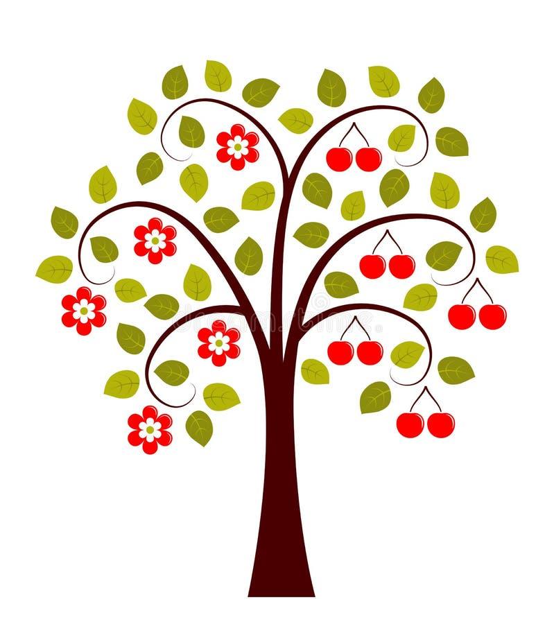 Δέντρο κερασιών σε δύο εποχές ελεύθερη απεικόνιση δικαιώματος