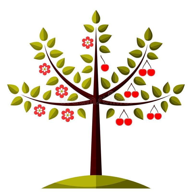 Δέντρο κερασιών σε δύο εποχές απεικόνιση αποθεμάτων