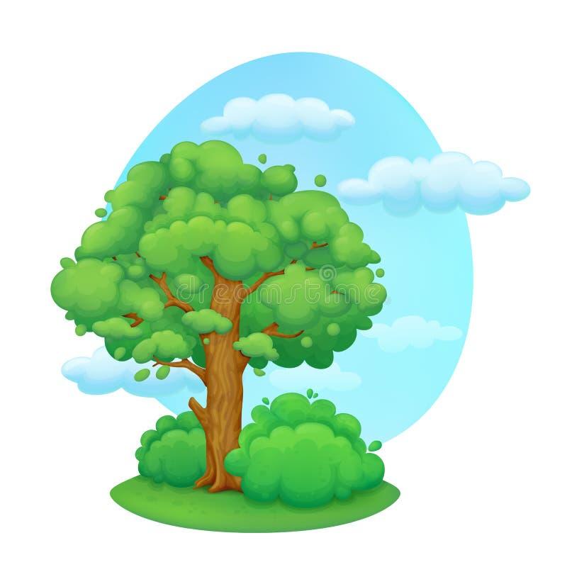 Δέντρο κινούμενων σχεδίων με τους θάμνους προαστιακός περίπατος άνοιξη ημέρας δασικός απεικόνιση αποθεμάτων