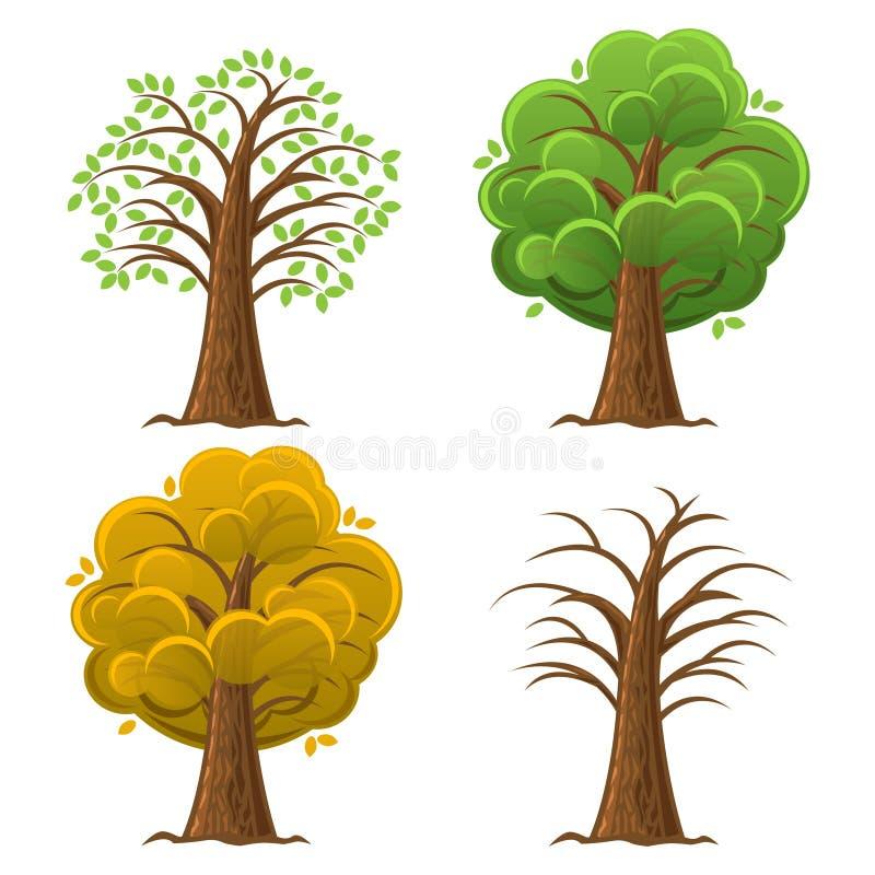 Δέντρο κινούμενων σχεδίων, βαλανιδιά στο διαφορετικό έτος εποχών διάνυσμα ελεύθερη απεικόνιση δικαιώματος