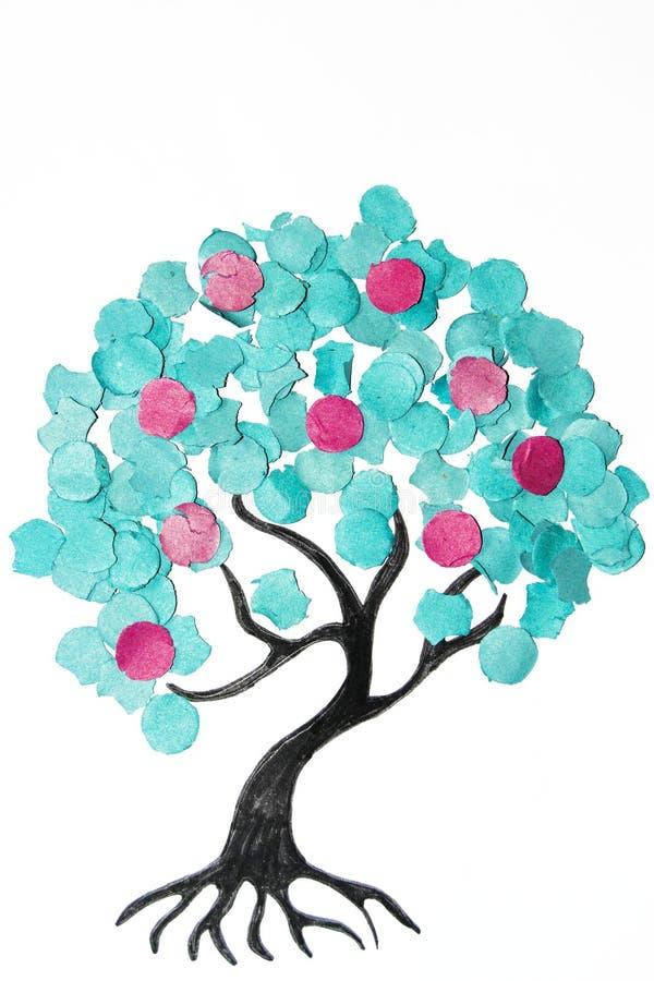 Δέντρο κινούμενων σχεδίων με το ζωηρόχρωμο κομφετί στοκ φωτογραφία με δικαίωμα ελεύθερης χρήσης