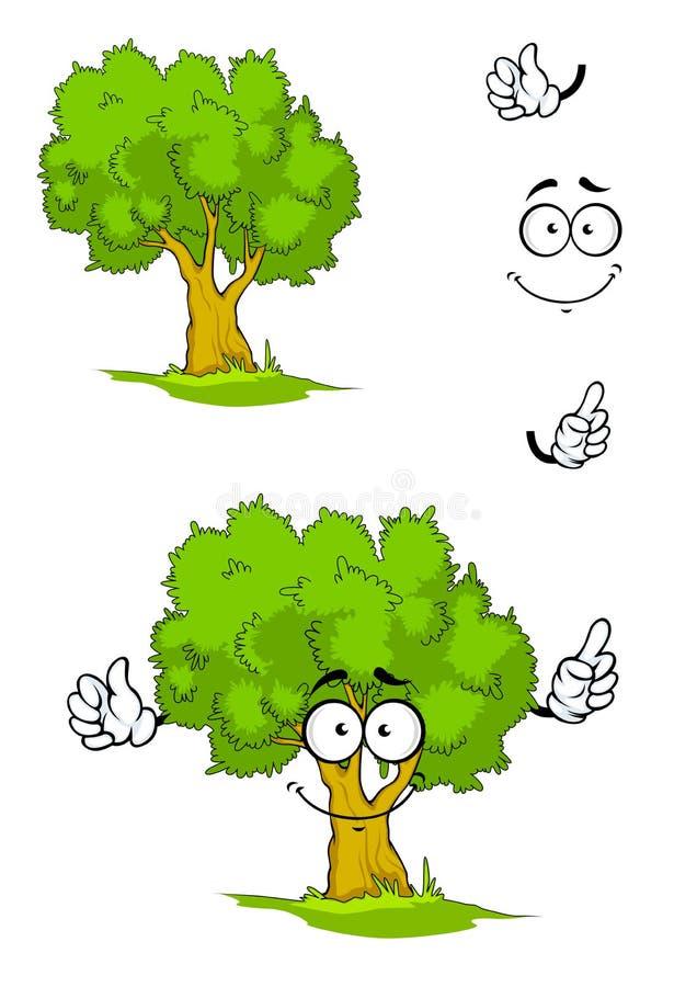 Δέντρο κινούμενων σχεδίων με το σημάδι προσοχής διανυσματική απεικόνιση