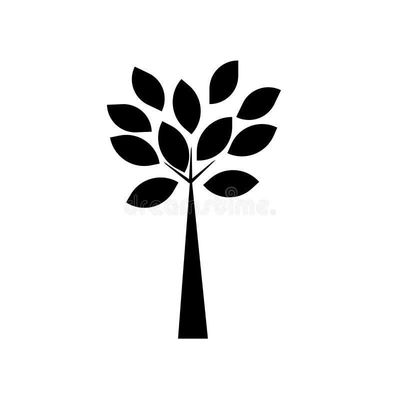 Δέντρο με πολύ φύλλων σημάδι και το σύμβολο εικονιδίων διανυσματικό που απομονώνονται στο άσπρο υπόβαθρο, δέντρο με πολλή έννοια  ελεύθερη απεικόνιση δικαιώματος