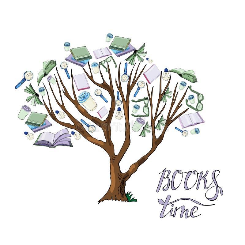 Δέντρο με τα φύλλα συρμένου του χέρι μελανιού και χρωματισμένο σκίτσο με τα βιβλία, τα φλυτζάνια καφέ, τους λαμπτήρες γυαλιών και διανυσματική απεικόνιση